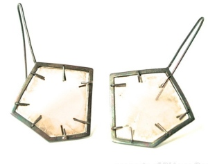 Mica and sterling silver earrings by Jennifer Lawrence Bennett. Photo courtesy of the artist
