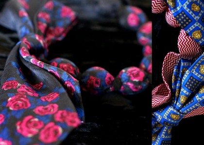Silk tie necklace by V. Bunker. Photo courtesy of the artist.