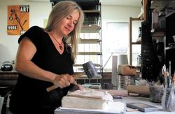 Claudia Riedener in her studio. Photo: The News Tribune