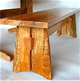 Western maple trestle bench by Carlos Taylor-Swanson.
