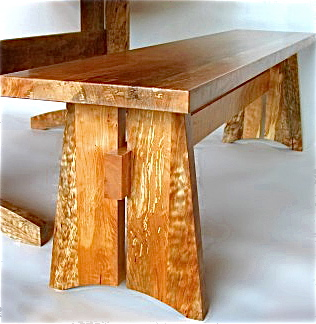 Western maple trestle bench by Carlos Taylor-Swanson. Photo courtesy of the artist