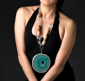 Blown glass, wood, hemp and Brazilian geode necklace by Lisa Kinoshita.